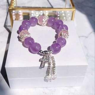 天然老礦料馬粉+薰衣草紫晶手鏈