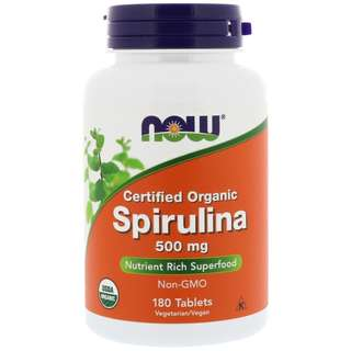 🚚 Now Foods - Certified Organic Spirulina - 500mg 180 Tablets / Vegan / Non-GMO