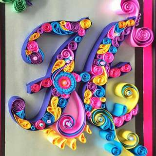 Handmade alphabets using paper quilling