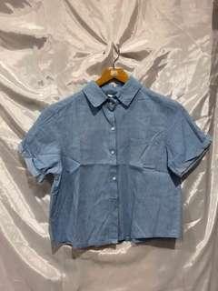 Blue Cropped Shirt