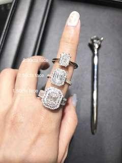 Emerald shape diamond ring