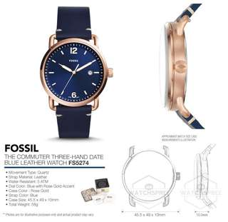 OFFER SALE - Fossil Men's The Commuter Three-Hand Date Blue Leather Watch