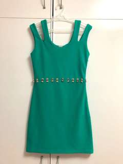 Sexy Bodycon Dress w Cut-Outs and Studs