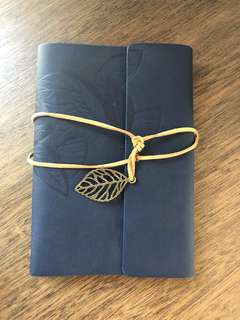 Rustic blue leather notebook