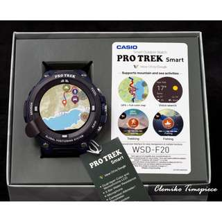 "Casio Pro-Trek Smart ""WSD-F20A-BU"" ( 軍用規格 / 低功耗GPS及彩色地圖功能 Wear OS運作允許用戶添加應用程式以增加其功能 )(可簽卡/可分期/現金交易優惠)06/14"