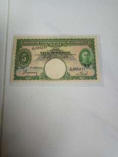 $5  1941 Malaya king