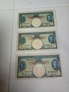 $1    1941  Malaya king  ( 3 pcs )