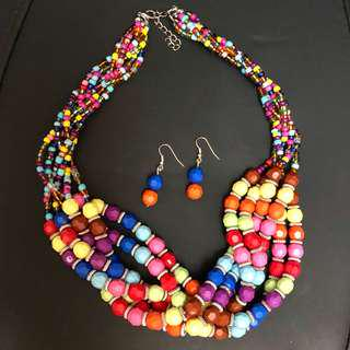 New multicolor necklace with earrings set 全新項鍊耳環套裝