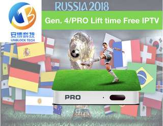 Gen 4 / Pro Unblock  tv box world cup life time channels no subscription