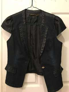 Denim and Pleather Vest