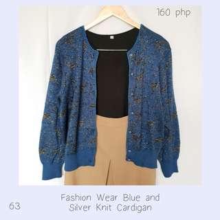 Fashion Wear Blue and Silver Knit Cardigan