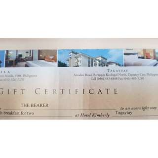 Hotel Gift Certificate - Tagaytay