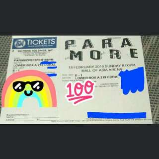 LOWER BOX A- Repriced! Paramore Concert Ticket!