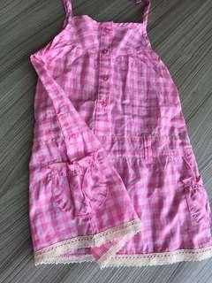🚚 全新 純棉外貿粉格洋裝(24m)非嬰兒包屁衣 連身衣 爬服 兔裝 背心 T恤