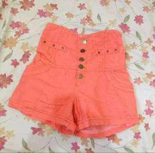 Orange Highwaist Shorts