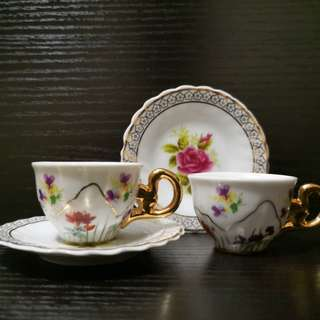 Miniature cup and saucers porcelain