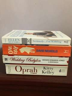 Fiction/Non-fiction. Ellen DeGeneres (as good as new), David Nichols - One Day, Wedding Babylon, Oprah