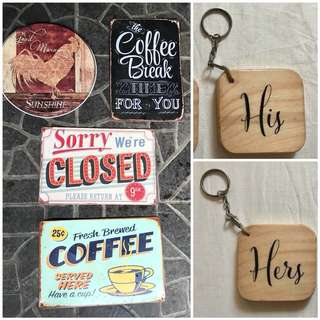 Take all! 4 pcs tin signages/keychain