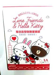 🚚 全新未拆封😍Line Friend & Hello Kitty聯名造型耐熱玻璃罐 台灣製造 共8款隨機 Sanrio