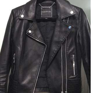 Leather look biker jacket forever new