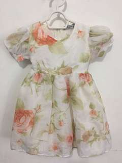 Pinky Silky Floral Dress 12mos