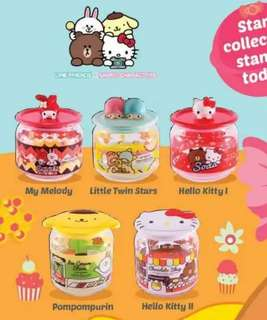 7-11 Line Friends X Sanrio Characters Glass Container Collection