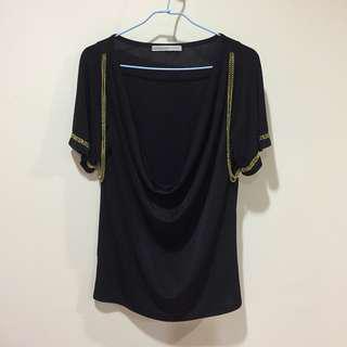 香港設計師品牌 黑色萊卡金鏈上衣