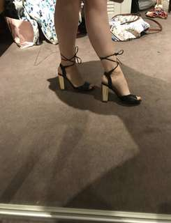 Black & Gold block heels