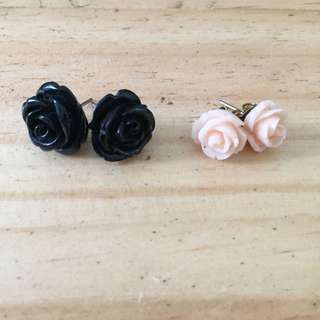 Black and Cream Flower Fancy Earrings