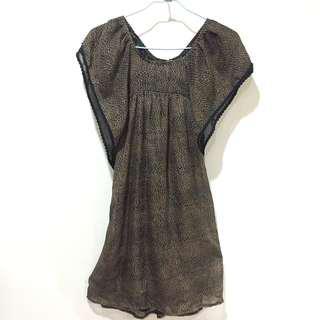豹紋荷葉袖蕾絲洋裝