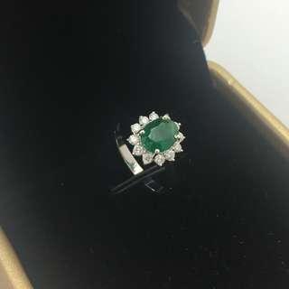 1卡52份綠寶 34份鑽石 18K白金戒指 1.52ct Emerald 0.34ct Diamond Ring 可議價