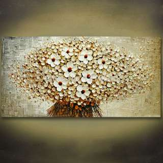 🚚 Flowers Abstract Art Oil Painting 50cm x 100cm