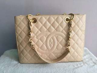 AUTHENTIC Chanel Grand Shopping Tote- Beige - Caviar Leather