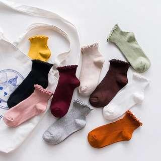 韓國森系木耳邊短襪
