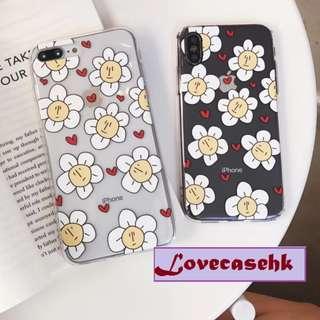 手機殼IPhone6/7/8/plus/X : 簡約愛心花朵全包邊透明軟殼
