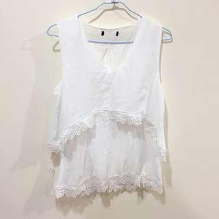 白色雪紡蕾絲邊無袖上衣