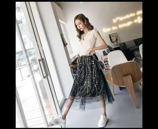 🚚 FREE Reg. MAILING .Ladies sequins long black /beige skirt