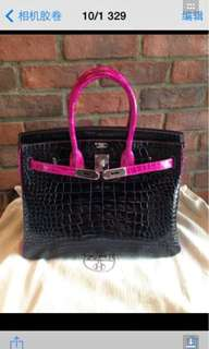 Hermes Birkin 極品雙色 Shiny Leather 亮面 倒V 購自巴黎