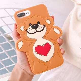手機殼IPhone6/7/8/plus/X : 立體愛心抱抱熊全包邊軟殼