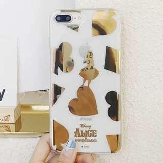 手機殼IPhone6/7/8/plus/X : 燙金愛麗絲全包邊透明軟殼
