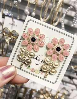 🚚 連線款,粉色磨砂太陽花清新甜美可愛耳環,賣場還有多款飾品,歡迎參觀選購
