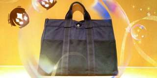 Hermes Navy Canvas Bag