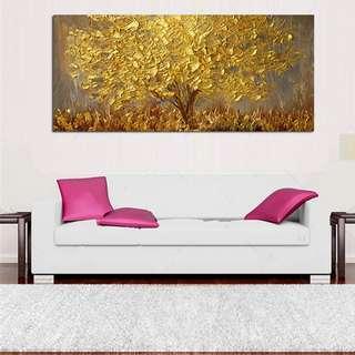 🚚 Lucky Golden Money Tree Oil Painting 50cm x 100cm