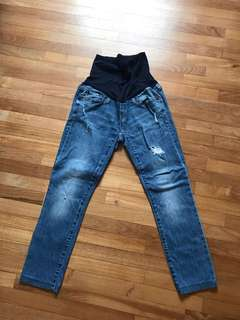 Maternity ripped jeans