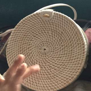 Round ratan bags from Bali