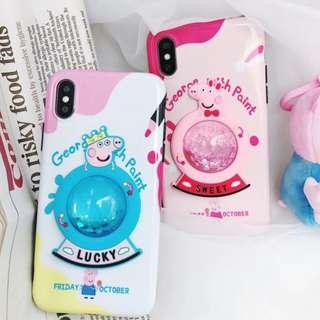 手機殼IPhone6/7/8/plus/X : Peppapig小豬流沙水晶球全包黑邊軟殼