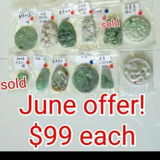 Myanmar Jadeite pendents June Sale