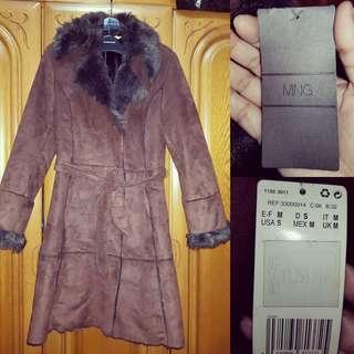 Mango fur trench coat