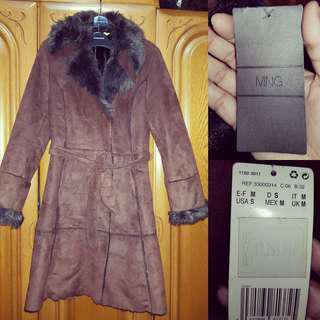 Mango fur trench coat