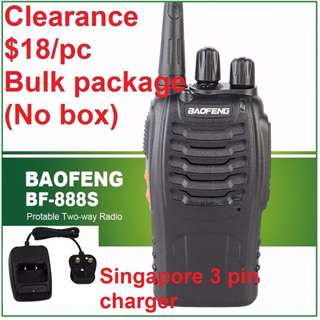 🚚 NEW STOCK!!!! New Black BaoFeng 5W BF-888S Walkie Talkie UHF:400-470MHz Two Way Radio, export set, long range